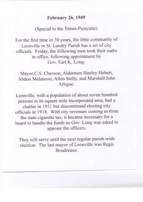 The History of Leonville